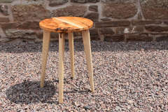 Yew and ash circular side-table