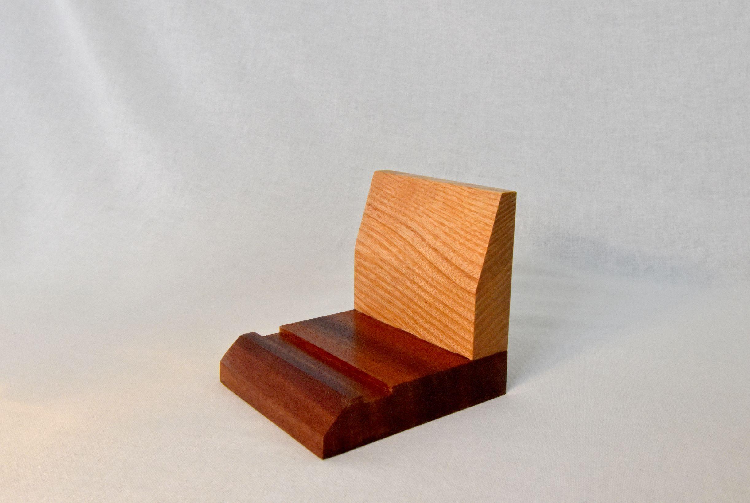 Oak and sapele device-holder (small)