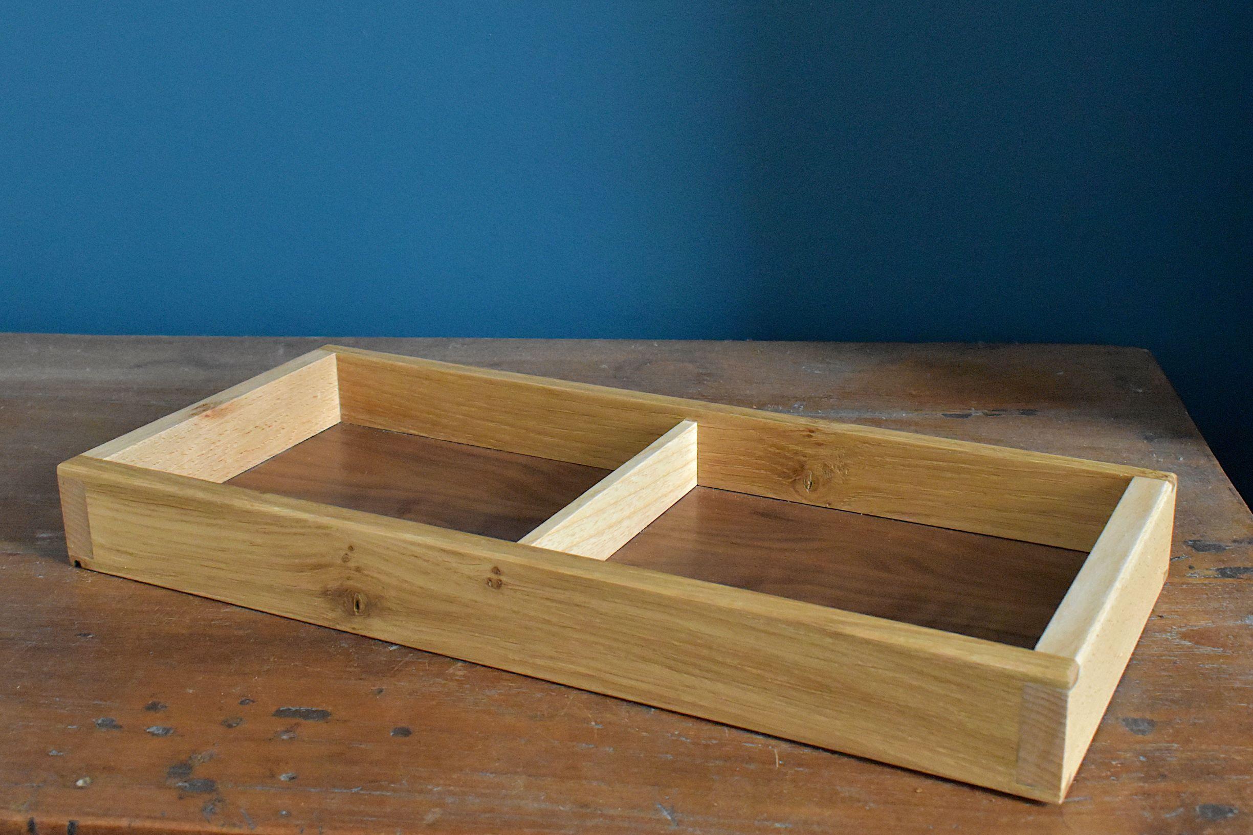 oak, beech and walnut divided tray/organiser
